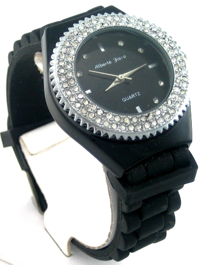 montre femme silicone noir strass alberto fioro watch. Black Bedroom Furniture Sets. Home Design Ideas